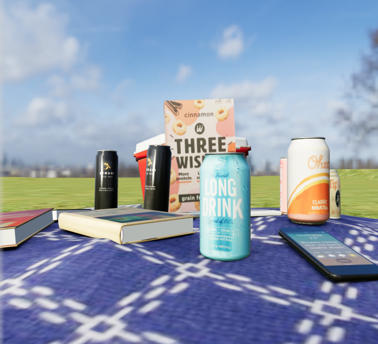 A 3D rendering of a picnic